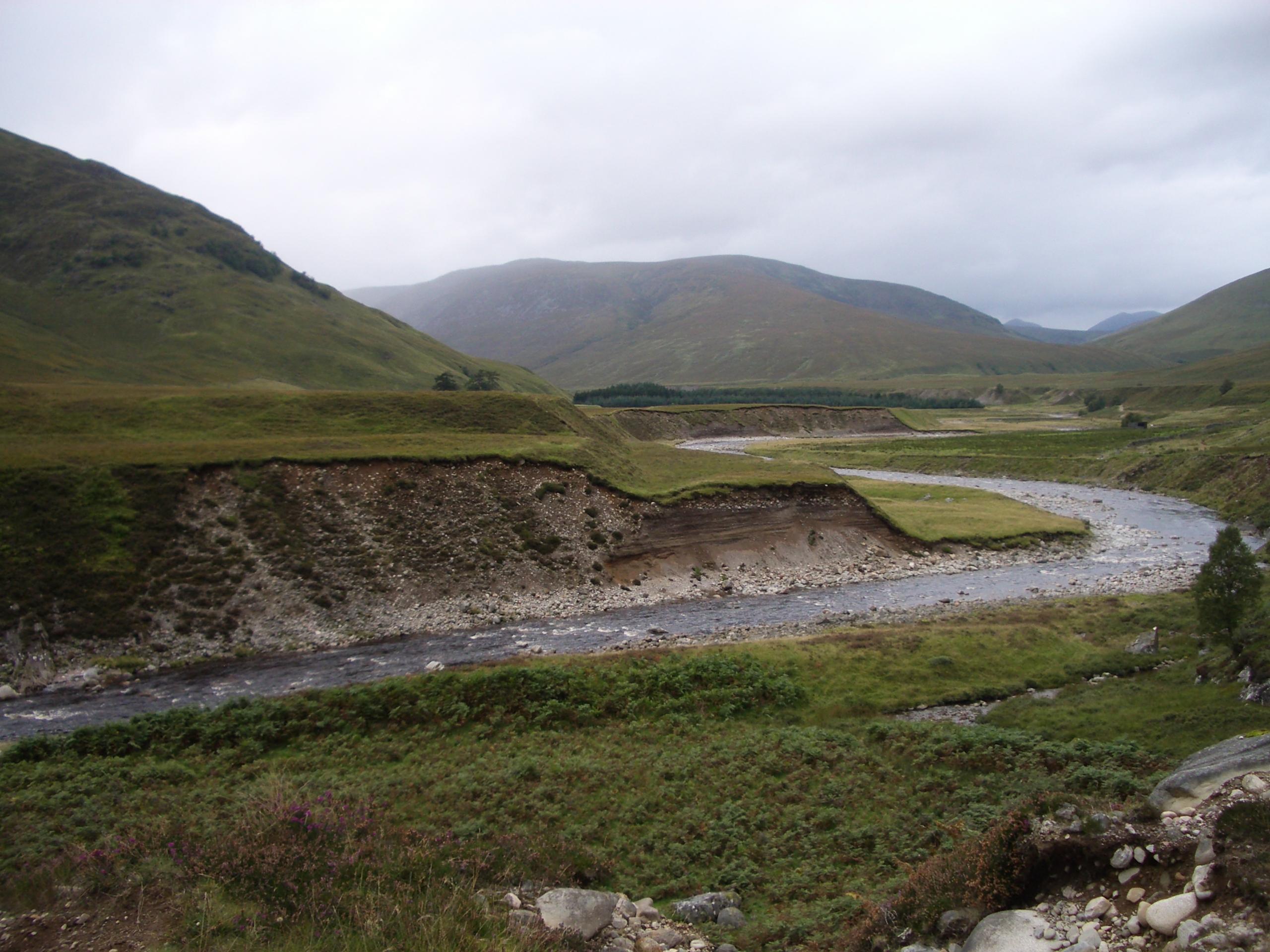 River along several different levels of flat floodplains