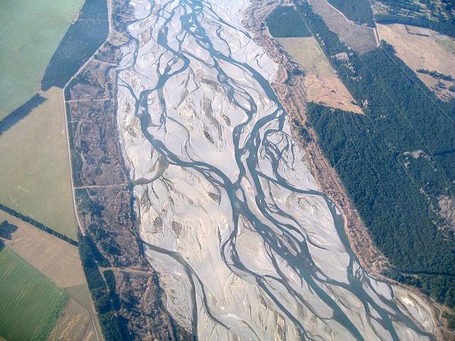 Braided stream pattern on the Waimakariri River in New Zealand.