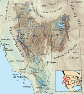 Map of the Great Basin occupying Utah west of the Wasatch Mountains, most of Neada, southeast Oregon and esxtending into southern California.