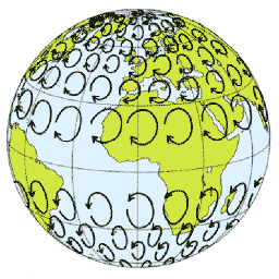 Illustration of the Earth with circles showing the Coriolis deflection to the right in the Northern Hemisphere and to the left in the Southern Hemisphere.