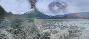 It shows volcanoes, impacts, and stromatolites.