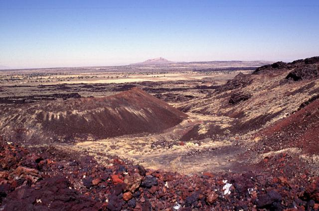 A barren landscape of lava flows in central Utah.