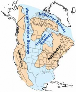 Water is covering the middle of North America.