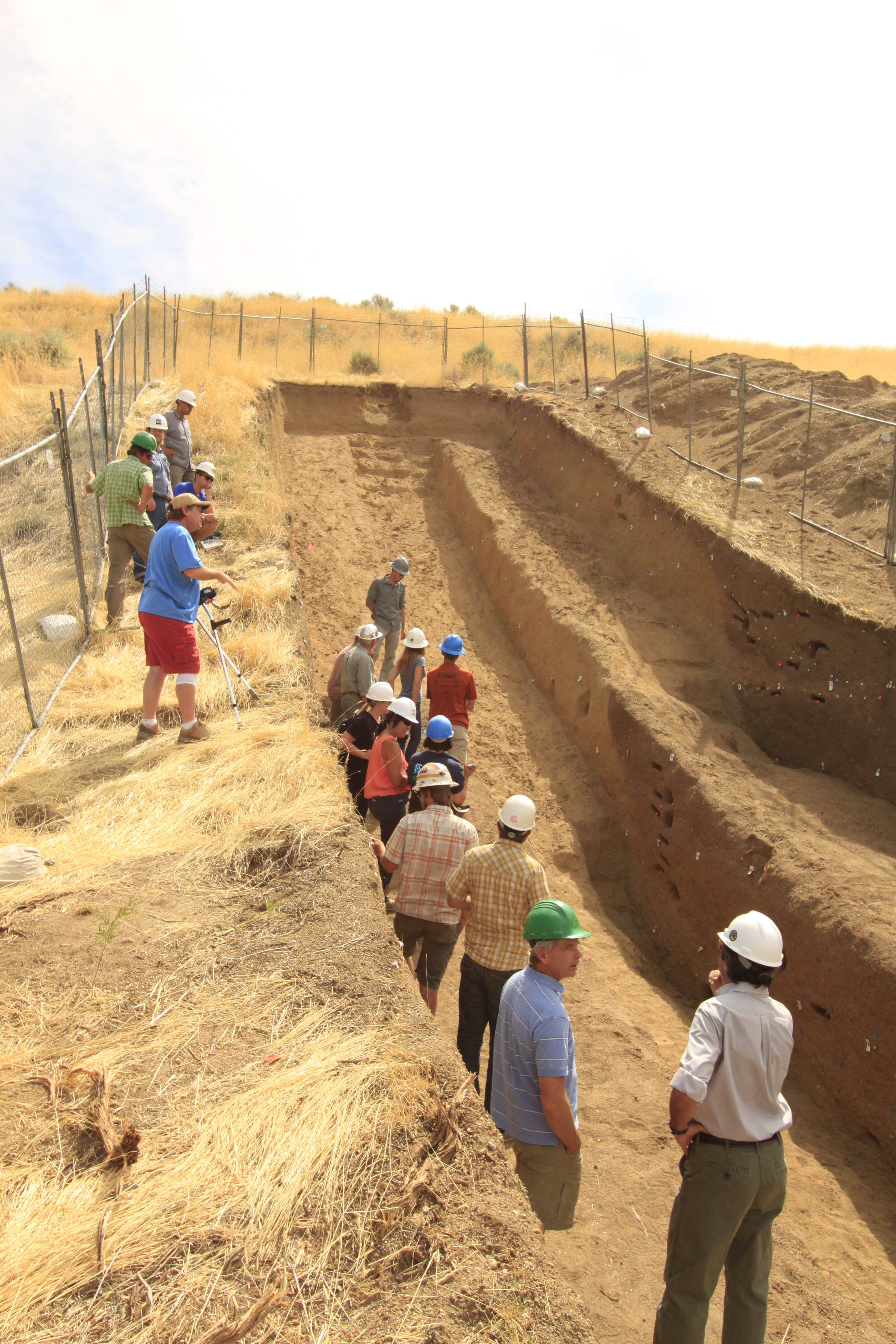 Fault trench near Draper Utah. Trenches allow geologists to see a cross section of a fault and to use dating techniques to determine how frequently earthquakes occur.