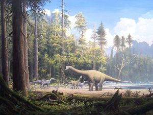 Several dinosaurs and their relatives are in the scene.