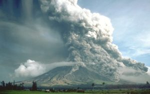 Most of the material is heading up, but small portions of the eruption column head downward.