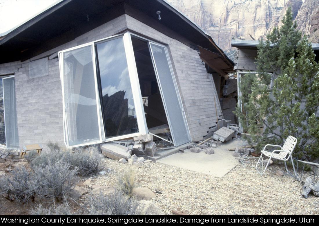 Broken house offset and destroyed from a landslide.