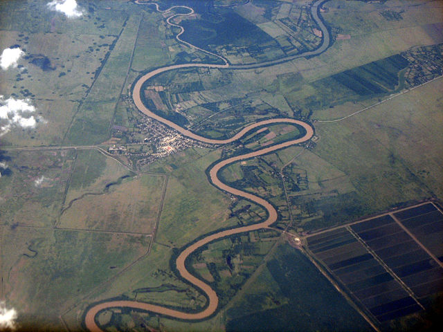 Air photo of the meandering river, Río Cauto, Cuba.