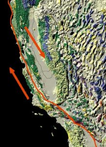 The fault runs through California.