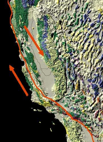The fault runs through California.