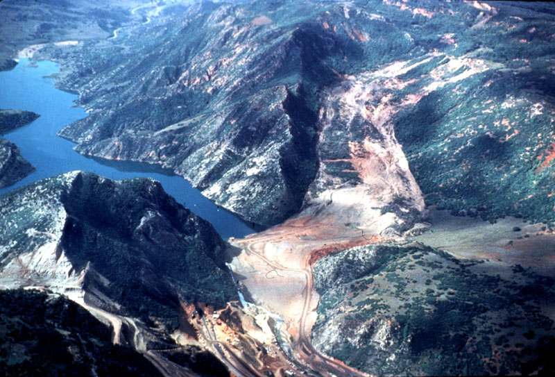 The 1983 Thistle landslide (foreground) dammed the Spanish Fork river creating a lake.