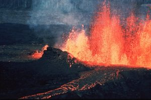The magma is sputtering outward