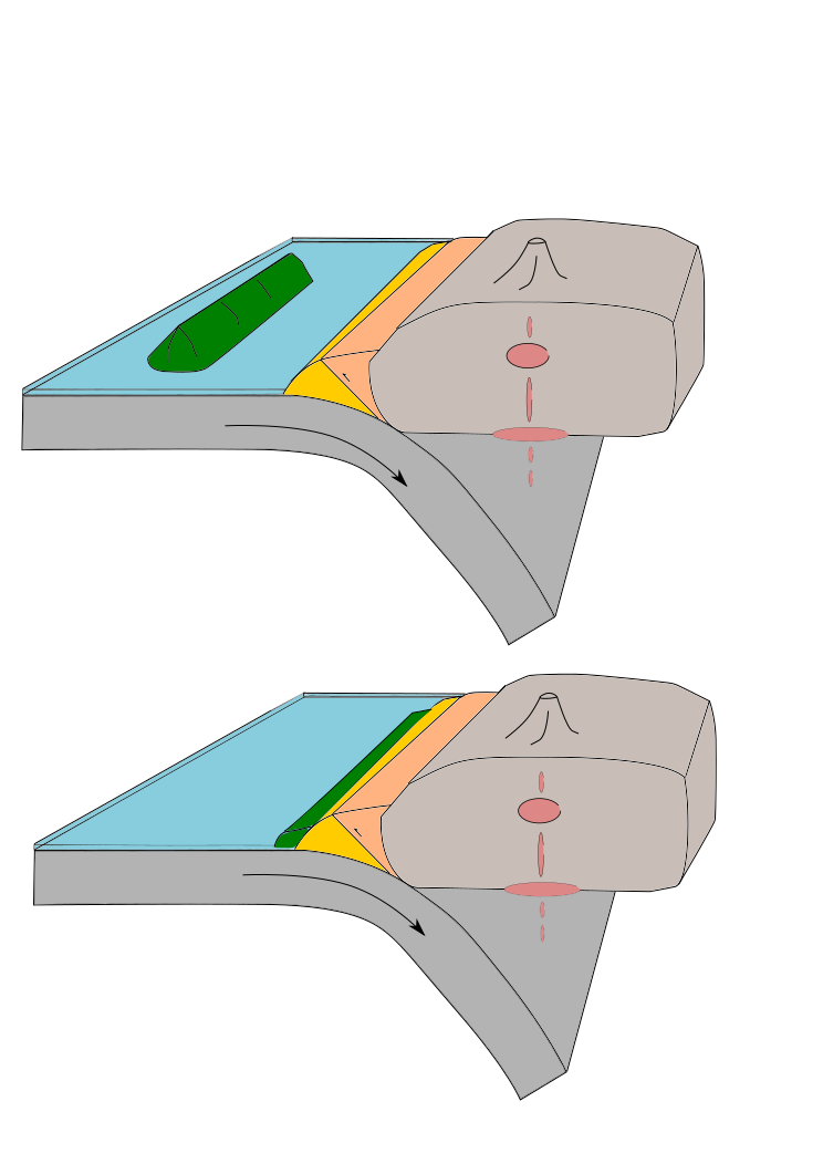 This drawing depicts a microcontinent riding with a subducting plate, and not being subductable, becoming accreted to the melange.