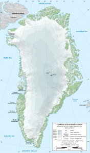 Map showing maximum thickness of Greenland ice sheet around 3000 meters.