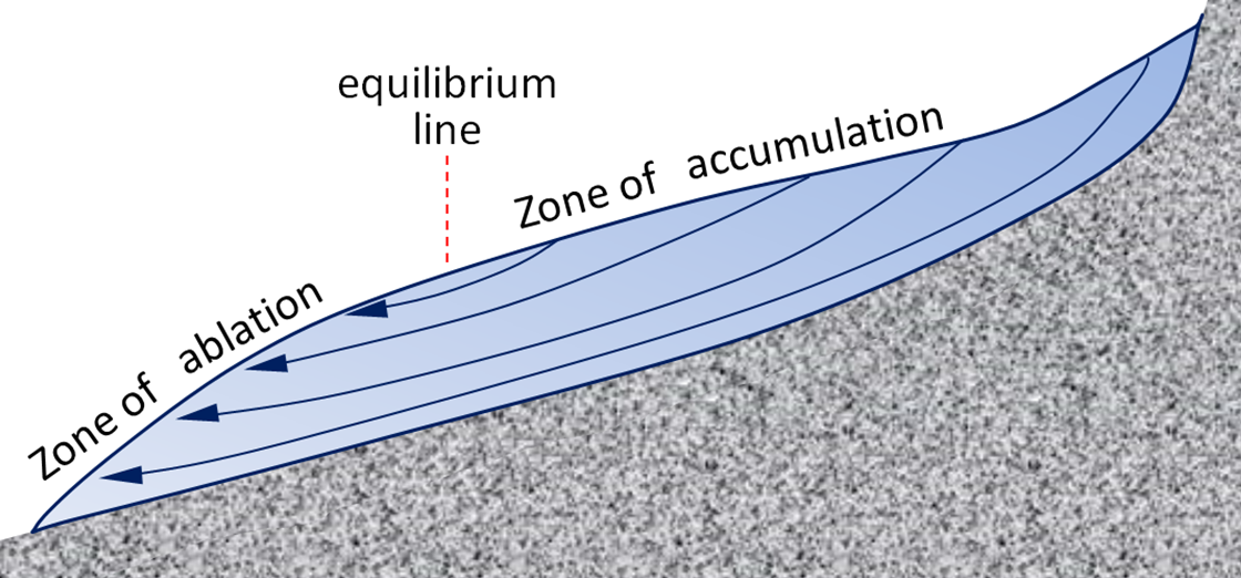 A glacier flows downhill as a thick sheet of ice. Cross-sectional view of an alpine glacier showing internal flow lines, zone of accumulation, snow line, and zone of melting.