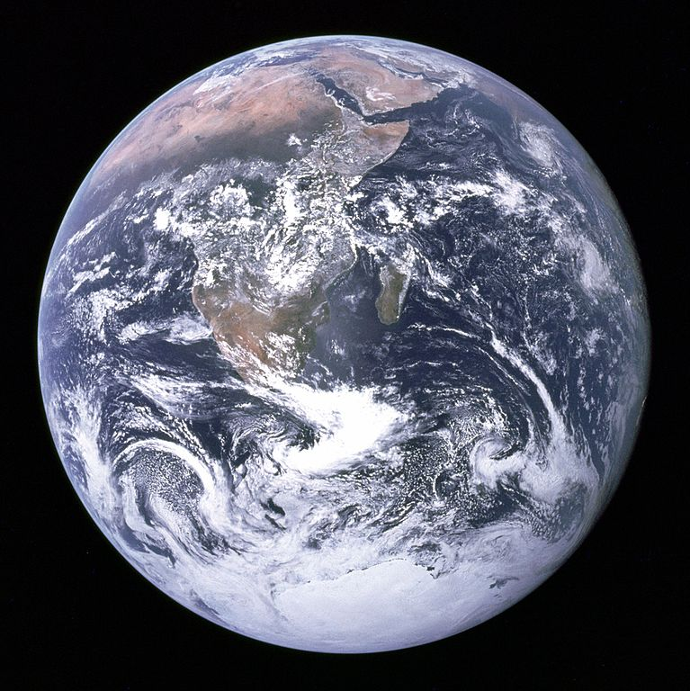 Photograph of Earth, with a view of Africa and clouds.