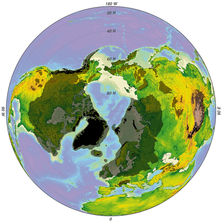 The ice sheet of the last major glacial maximum extended over much of the northern hemisphere.