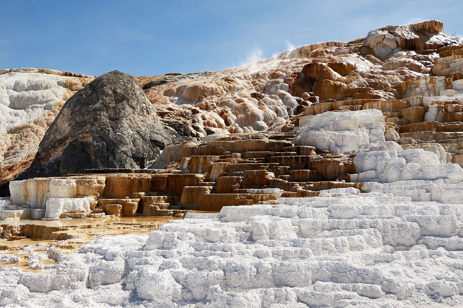 The white and brown natural steps show the formation of travertine.