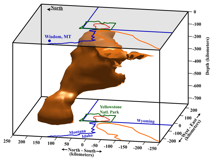 Seismic tomograph showing the magma chamber beneath Yellowstone National Park