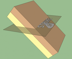 Illustration of an inclined rock layer. Strike is the line a rock layer would make as it intersects a horizontal plane. Dip is the angle between the horizontal plane and the tilted beds of rock.