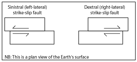 Sinistral moves to the left, dextral moves to the right.