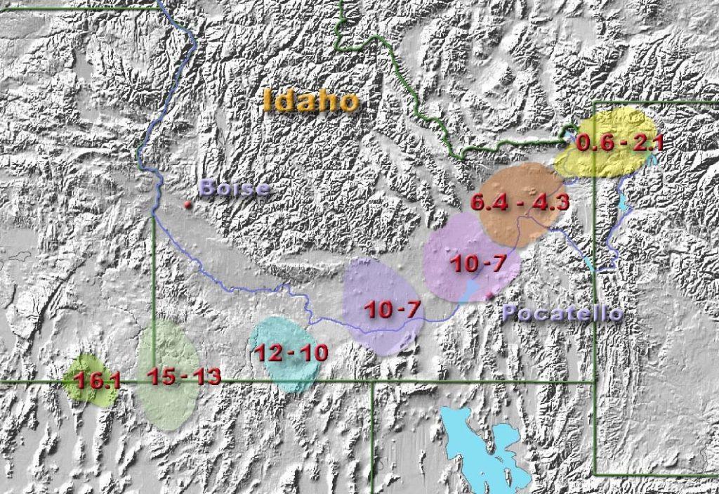 The hotspot started near the Idaho-Oregon-Nevada boarder, then moved toward its present location neat the Wyoming-Idaho-Montana boarder.