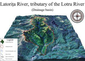 Oblique view of the drainage basin and divide of the Latorita River, Romania.