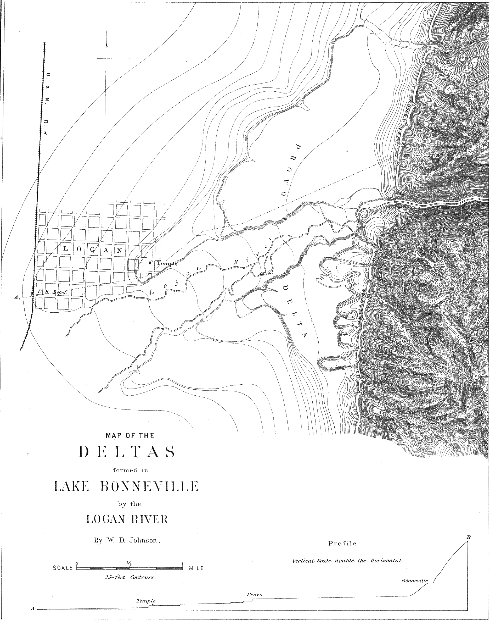 Contours of the Logan Delta, incised by the Logan River.