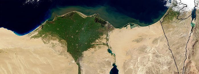 The Nile Delta is a triangular patch of green in an otherwise sandy brown area.