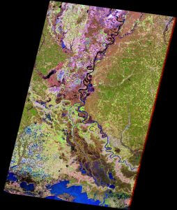 Satellite image of lower Mississippi River floodplain