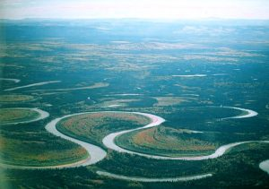 Meander nearing cutoff on the Nowitna River in Alaska