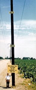 Eivdence of land subsidence from pumping of groundwater shown by dates on a pole