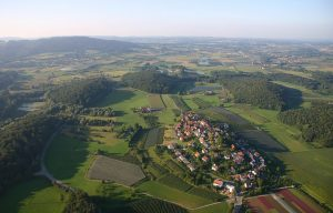 A small group of Ice Age drumlins in Germany.
