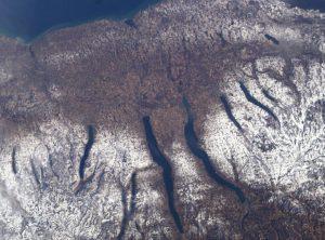 Satellite view of Finger Lakes region of New York