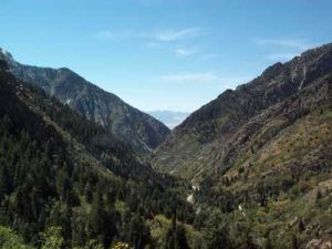 Big Cottonwood Canyon showing V-shape of stream carving