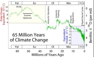 Atomospheric CO2 has declined during the Cenozoic from a maximum in the Paleocene-Eocene up to the Industrial Revolution.