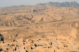 Loess Plateau in China. The loess is so highly compacted that buildings and homes have been carved in it.