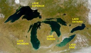 The five grteat lakes occupy basins left by the ice sheet in the Ice Age.